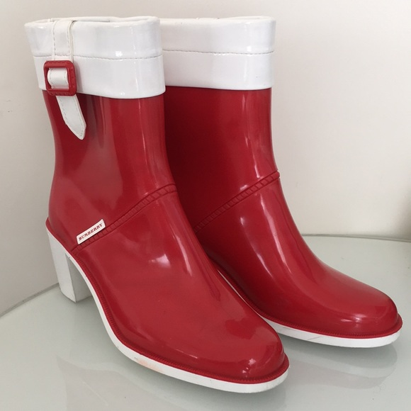 Burberry Shoes - Burberry Red White Rubber Rain Boots Heel